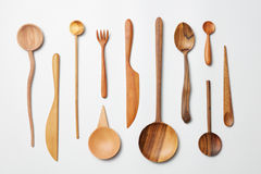 Wooden spoons, knives, forks o Stock Images