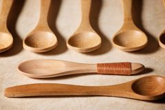 Wooden spoons view Royalty Free Stock Images