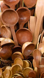 Wooden spoons in the market Stock Images