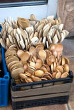 Wooden spoons. On the market in plastic box Royalty Free Stock Images