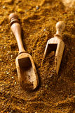 Wooden spoons with mixture of different  spices Stock Photos
