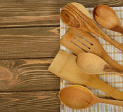 Wooden spoons and napkin Stock Photography