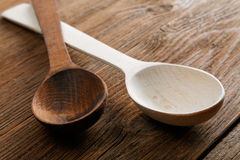 Wooden spoons on an old  table Royalty Free Stock Image