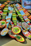 Handmade. Traditional painted colored wooden spoons, specific from Romania. Presented at a Romanian popular art fair Royalty Free Stock Photography
