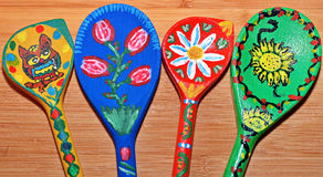 Wooden Spoons Painted Royalty Free Stock Photography
