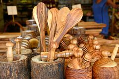 Wooden spoons and pots for sale, Bali. Wooden spoons and pots for sale in a tourist shop, Bali, Crete, Greece, Europe Royalty Free Stock Image