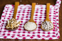 Wooden spoons with raw nuts on checkered red dishtowel Stock Photography