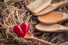 Wooden spoons with red heart object Stock Images
