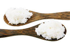 Wooden Spoons with Rice Stock Photo