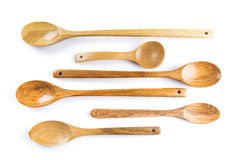 Wooden spoons set isolated on white background Stock Image