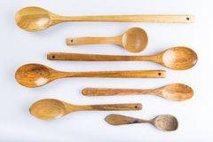 Wooden spoons set  on white background Royalty Free Stock Images