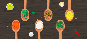 Wooden spoons with spices and herbs on wood Royalty Free Stock Photo