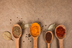 Wooden spoons with spices. Wooden spoon with spices on brown backgrownd Stock Images