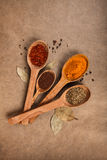 Wooden spoons with spices. Wooden spoon with spices on brown backgrownd Royalty Free Stock Photos