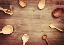 Wooden spoons on table  in rustic style. Top view Stock Photo