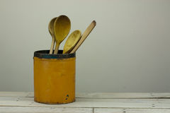 Wooden spoons in a tin Stock Photography