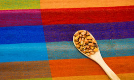 Wooden spoons with toasted corn grains, known as tostado in south america, spread around bowl containing yellow salsa Stock Image