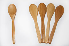 Wooden spoons on the white background Royalty Free Stock Photos
