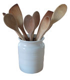 Wooden spoons in white jug Royalty Free Stock Photography