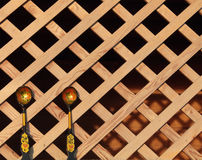 Wooden spoons on wooden background lattice Royalty Free Stock Photography