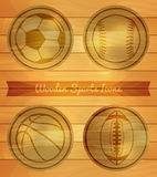 Wooden Sports Icons Stock Images