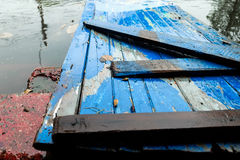 Wooden with spring flood water. Wooden platform, covered with spring flood water Stock Images