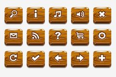 Wood buttons with different menu elements. Wooden square buttons with different menu elements for web or game design vector illustration