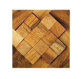 Wooden square figures assemble in puzzle isolated Stock Photo