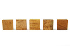 Wooden Square Figures In Line Isolated Stock Photography