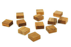 Wooden Square Figures Isolated Stock Photo