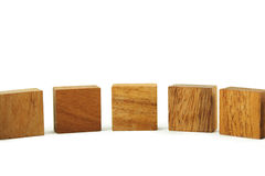 Wooden square figures in line isolated Royalty Free Stock Image