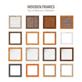 Wooden Square Frames Set Royalty Free Stock Image