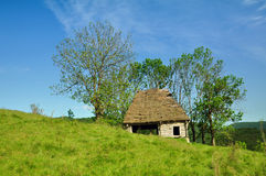 Wooden stable with thatched roof Royalty Free Stock Images