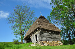 Wooden stable with thatched roof in the mountains Stock Image