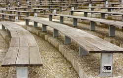 Wooden stadium seats Royalty Free Stock Photos