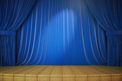 Wooden stage with blue curtains and spotlight Royalty Free Stock Photos