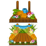 Wooden stage with flower decoration outdoor Royalty Free Stock Photo