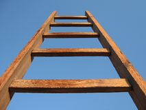 Wooden stair. Standing over blue sky Stock Image