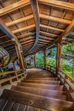 Wooden stair case at Eikando Temple iKyoto, Japan - October 20 2014: Eikando temple famous for its un Stock Image