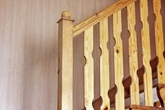 Free Wooden Stair. Part Of A Wooden Staircase. Light Wood Product Stock Photo - 144401180
