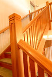 Wooden staircase. Wooden internal polished staircase beautifully restored Stock Photos