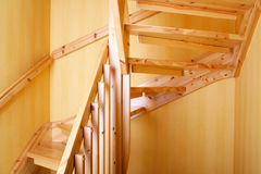 Wooden staircase. In a Swedish villa house Royalty Free Stock Photo
