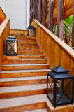 Wooden staircase. Brown   Wooden staircase  of  a  bar Royalty Free Stock Photography