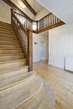 Wooden staircase. Vintage wooden stairs with handcrafted rails stock image