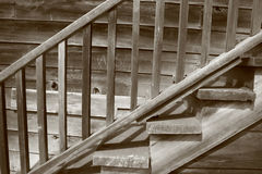 Wooden Staircase. Sepia-toned staircase detail stock photos
