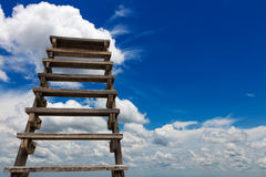 Wooden staircase cloud sky. Royalty Free Stock Photo