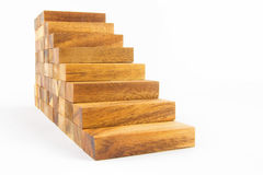 Wooden staircase construction. Isolated on white background Royalty Free Stock Photos