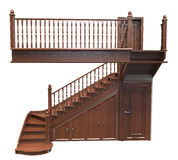 Wooden staircase decorated with carvings. 3d render of Wooden staircase decorated with carvings on a white background Royalty Free Stock Photography