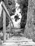 Wooden staircase with a handrail down to the rapid stream. On a background of mountains Royalty Free Stock Images