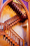 Wooden staircase inside of catholic church Stock Images